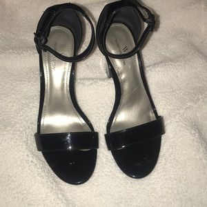 Black and clear heels